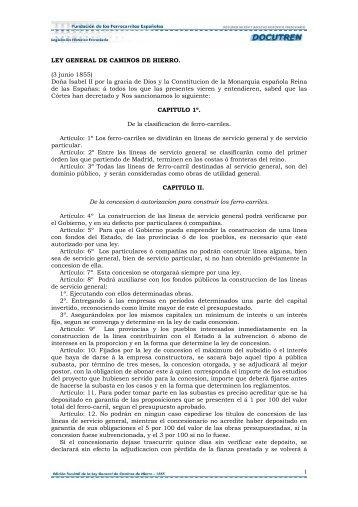 1 LEY GENERAL DE CAMINOS DE HIERRO. (3 junio ... - DOCUTREN