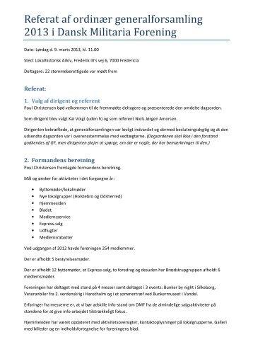 Referat af ordin r generalforsamling 2013 i Dansk Militaria Forening