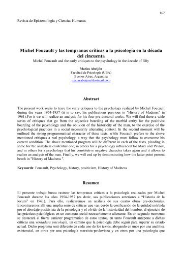 Michel Foucault y las tempranas críticas a la - Revista de ...