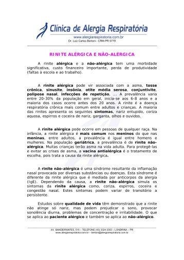 RINITE ALÉRGICA E NÃO-ALÉRGICA - Intersoft