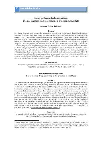 36 Marcus Zulian Teixeira Novos medicamentos homeopáticos: Uso ...