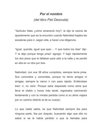 Por el nombre (del libro Piel Desnuda) - Jorge Mora Forero