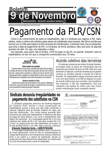 Pagamento da PLR/CSN - Sindicato dos Metalúrgicos de Volta ...