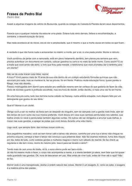 Frases De Pedro Bial Mensagens Com Amor