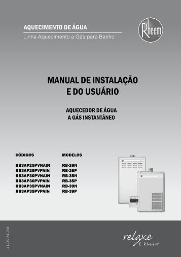 MANUAL DE INSTALAÇÃO E DO USUÁRIO - Rheem