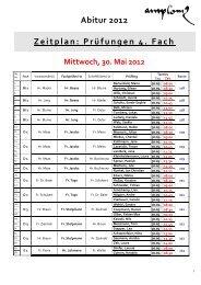 Abitur 2012 Zeitplan: Prüfungen 4. Fach