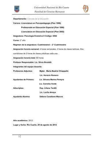 2012 Programa Psic. Evolutiva II - Sistema de Información de la ...