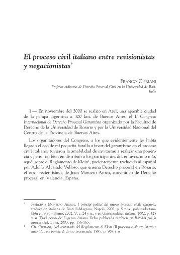 El proceso civil italiano entre revisionistas y negacionistas* - EGACAL