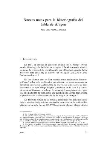 Nuevas notas para la historiografía del habla de Aragón - Institución ...