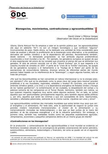 Bionegocios, movimientos, contradicciones y agrocombustibles - ODG