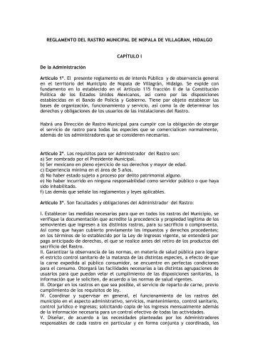 REGLAMENTO DEL RASTRO MUNICIPAL DE NOPALA DE ...