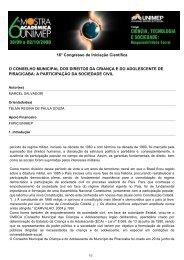 o conselho municipal dos direitos da criança e do ... - Unimep