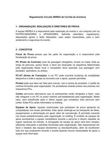 Regulamento Circuito NEREA de Corrida de Aventura 1 ...