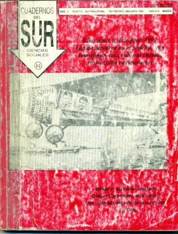 Cuadernos del Sur Tomo 8-9 - Unidad Pacifico Sur - Ciesas