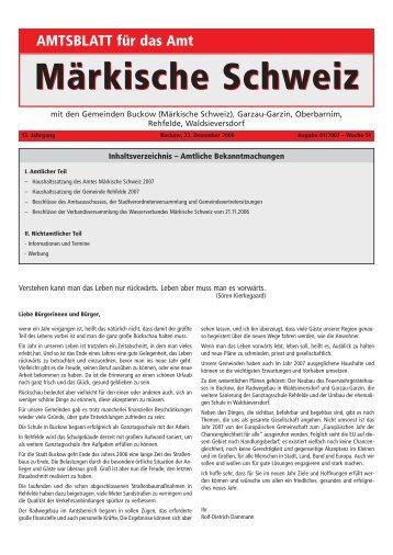 I. Amtlicher Teil - Amt Märkische Schweiz