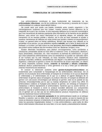 FARMACOLOGIA DE LOS ANTIMICROBIANOS Introducción Los ...