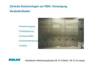 Zentrale Dosieranlagen zur RDG- Versorgung