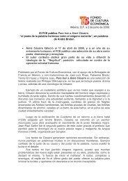 México, D.F. a 2 de junio de 2009. El FCE publica Para leer a Aimé ...