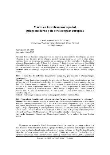 Marzo en los refraneros español, griego moderno y de ... - Paremia