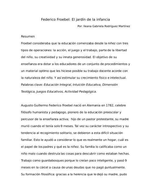 Federico Froebel El Jardín De La Infancia
