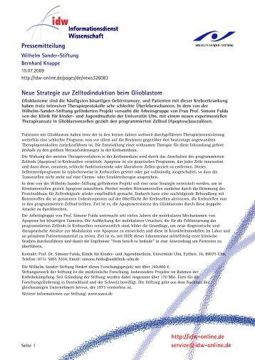 Neue Strategie zur Zelltodinduktion beim Glioblastom