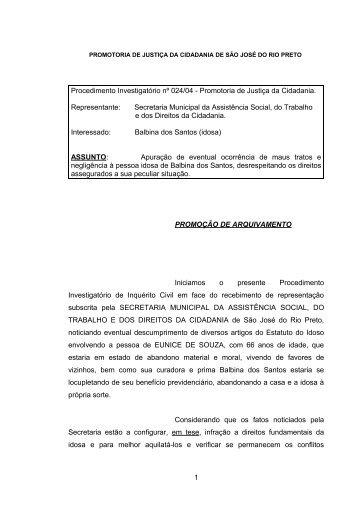 Procedimento Investigatorio 024-04 IDOSO - Sao Jose do Rio Preto