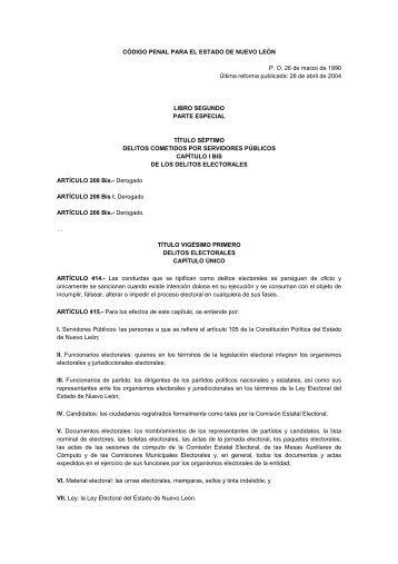cdigo penal para el estado de nuevo leon - Orden Jurídico Nacional