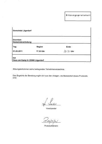 Protokoll Gemeindevertretung 01.03.2011 - Amt Breitenburg