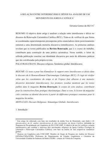 A RELAÇÃO ENTRE INTERDISCURSO E DÊIXIS NA ANÁLISE DE ...
