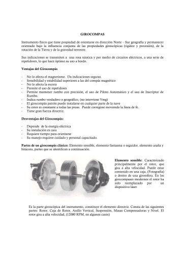 GIROCOMPAS Instrumento físico que tiene propiedad de orientarse ...