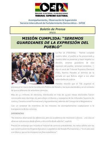 Boletín de Prensa MISIÓN CUMPLIDA - Tribunal Supremo Electoral