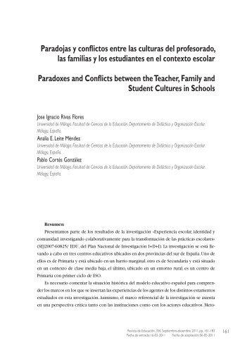 Paradojas y conflictos entre las culturas del profesorado, las familias ...