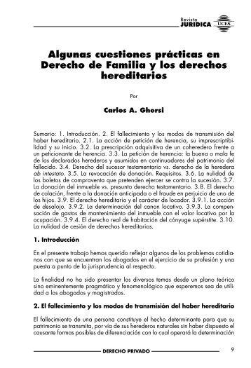 Algunas cuestiones prácticas en Derecho de Familia y los ... - UCES