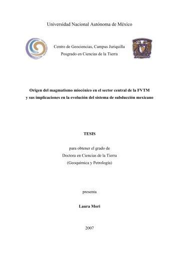 Mori Laura - Centro de Geociencias ::.. UNAM - Universidad ...