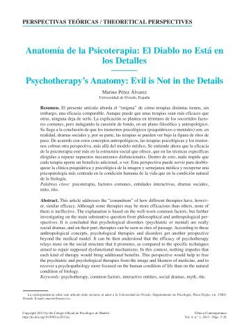 Anatomía de la Psicoterapia: El Diablo no Está en los Detalles