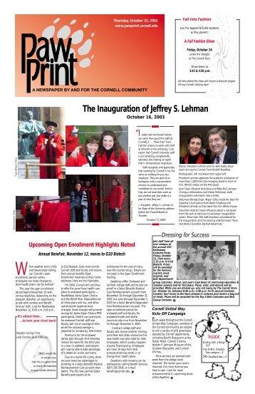 "The Inauguration of Jeffrey S. Lehman ""I - Pawprint - Cornell University"