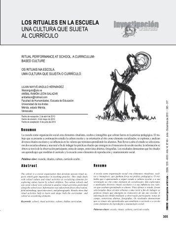 Los rituaLes en La escueLa uNA culturA que SuJetA al currículo