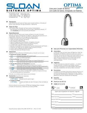 Especificaciones del Optima Plus EBF-750 - Sloan Valve Company