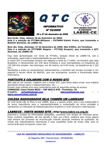 informativo nº 52/2009 participe e colabore com o nosso ... - PY3PO