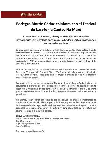 Bodegas Martín Códax colabora con el Festival de ... - agaca