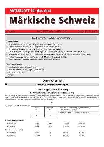 II. Nichtamtlicher Teil - Amt Märkische Schweiz