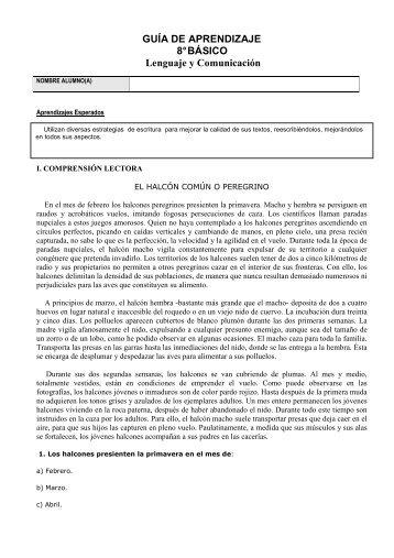GUÍA DE APRENDIZAJE 8° BÁSICO Lenguaje y Comunicación