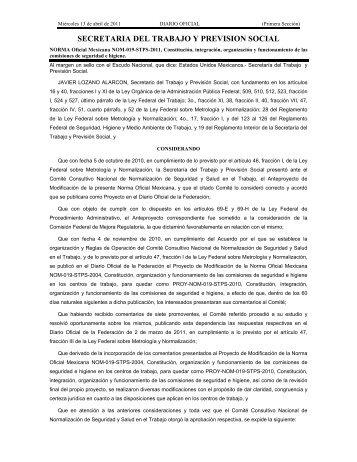 Nom 019 STPS 2011 - Normas Oficiales Mexicanas de Seguridad y ...
