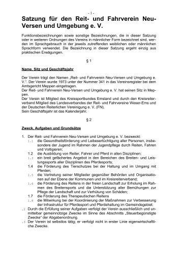 Satzung für den Reit- und Fahrverein Neu ... - RuF Neu-Versen