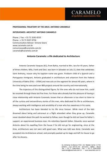 Antonio Caramelo: a life dedicated to Architecture