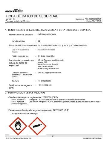 Oxígeno medicinal líquido Carburos Metálicos ... - carburos medica