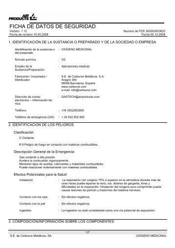 Fichas de seguridad del Oxígeno medicinal - Carburos Médica