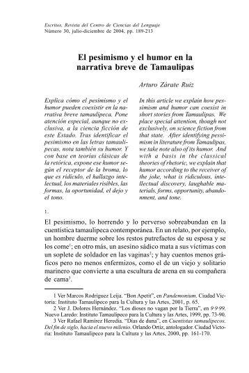El pesimismo y el humor en la narrativa breve de Tamaulipas