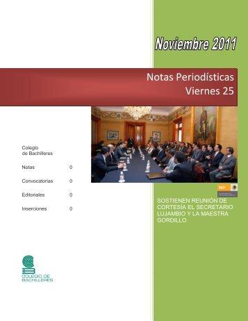 Notas Periodísticas Viernes 25 - Colegio de Bachilleres