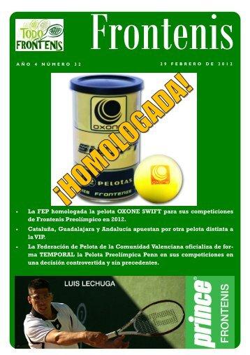Revista Frontenis numero 32 - Federación Aragonesa de Pelota